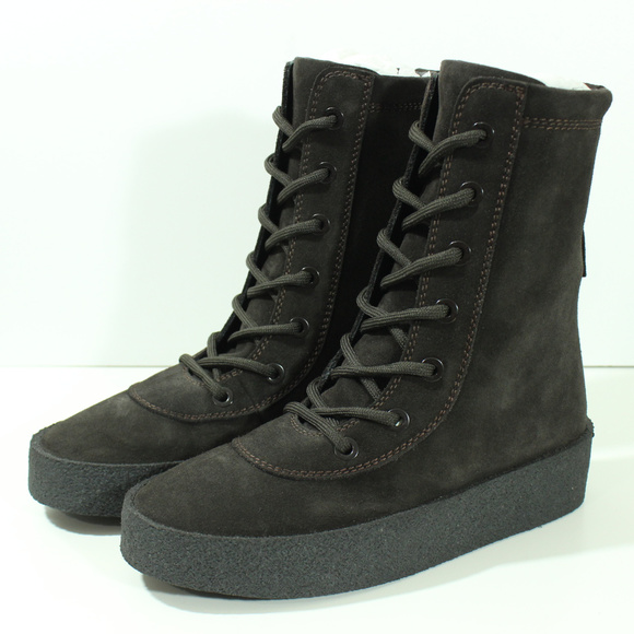 ba5f08fdb35 Yeezy Season 4 Oil Crepe Boots Kanye West Brown 38